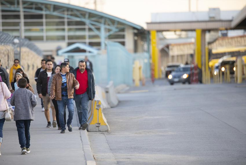 Pedestrians and cars cross from Mexico into the U.S. at the Paso del Norte Port of Entry near downtown El Paso on Jan. 15, 2…