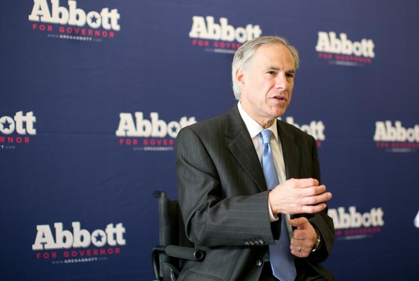 Texas Attorney General and Republican gubernatorial candidate Greg Abbott speaks to supporters at Lavazza Espression on Cong…