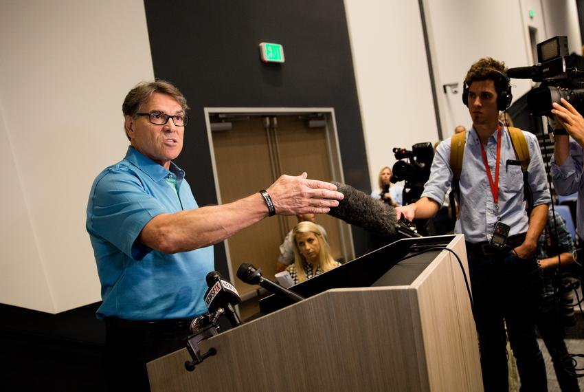 U.S. Secretary of Energy Rick Perry speaks to the press after touring the Daikin Texas Technology Park in Waller, Texas, o...