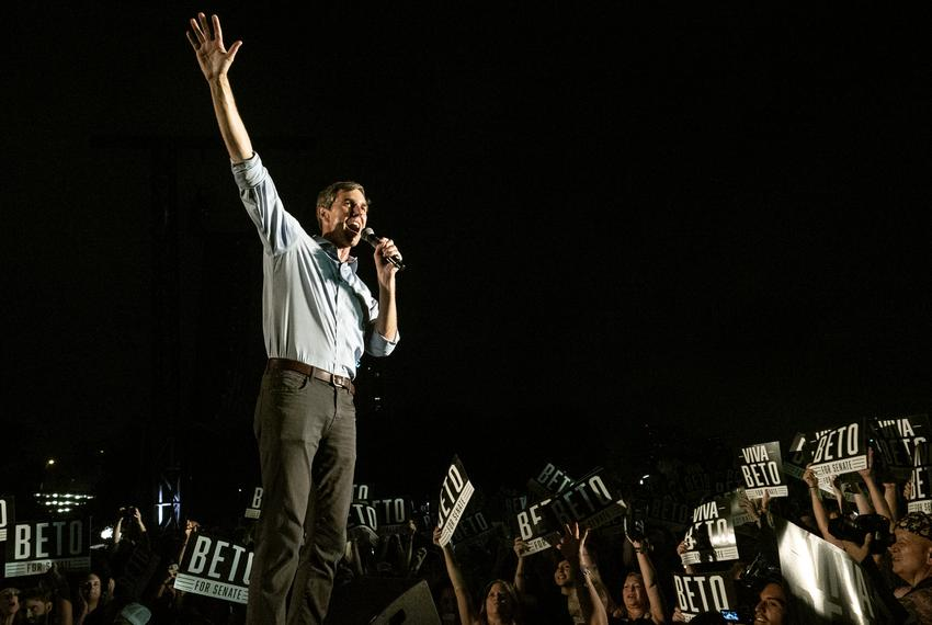 US Rep. Beto O'Rourke, D- El Paso, thanks the crowd of supporters as he leaves the stage during the Turn Out For Texas Rally…