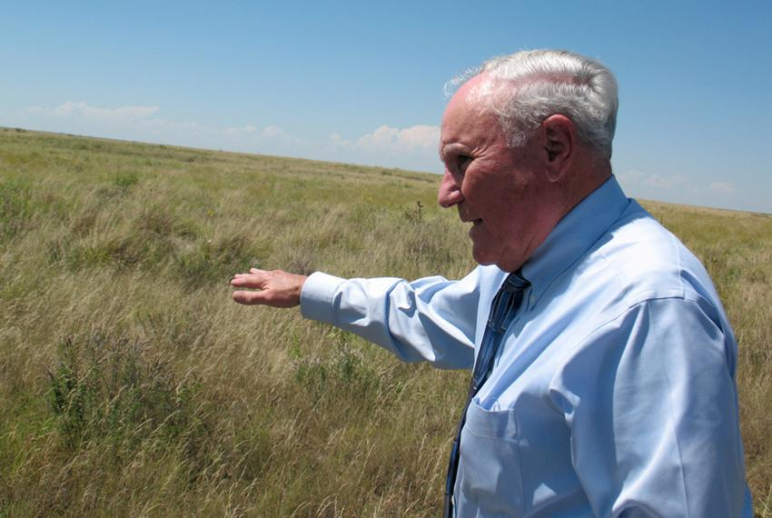 Lynn County Judge H.G. Franklin looks out over his land, which is enrolled in the federal Conservation Reserve Program.
