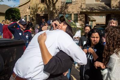 Jacqueline Westman hugs Beto O'Rourke.