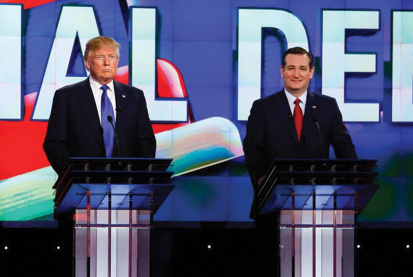 GOP presidential contenders Donald Trump and U.S. Sen. Ted Cruz at the CNN debate in Las Vegas, Nevada on Dec. 15, 2015.