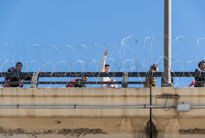Concertina wire is strung along the bridge between Laredo and Nuevo Laredo, Mexico.
