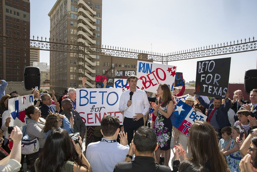 U.S. Rep. Beto O'Rourke, with his wife Amy Hoover Sanders O'Rourkeby his side, announces his intent to run for U.S. Senate against Sen. Ted Cruz in front of a large crowd of supporters in El Paso on March 31, 2017.