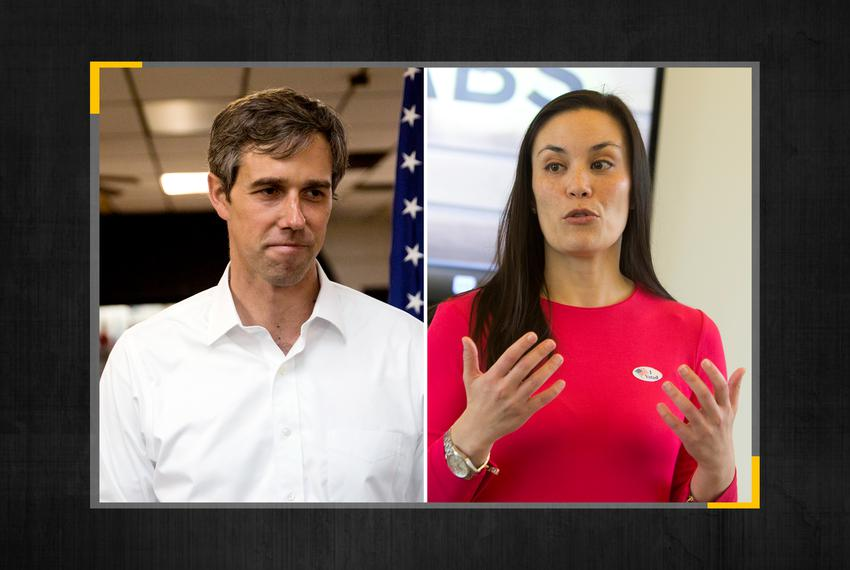 Presidential candidate Beto O'Rourke and Gina Ortiz-Jones, who has announced she's again running for Congressional Distric...