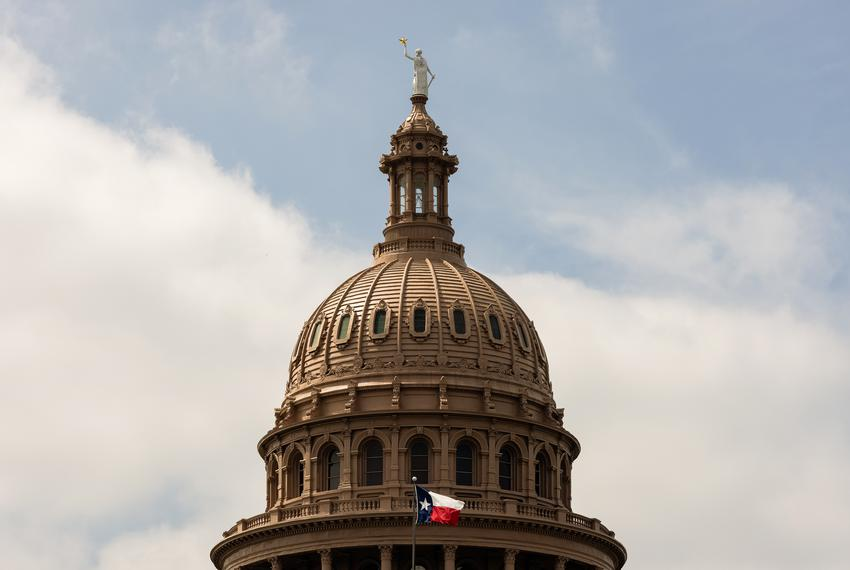 The dome of the Texas Capitol on April 12, 2021.