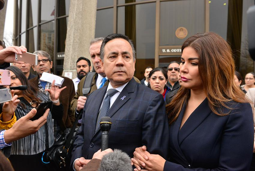 State Sen. Carlos Uresti, D-San Antonio, along with his wife Lleana, leaves the federal courthouse in San Antonio after bein…