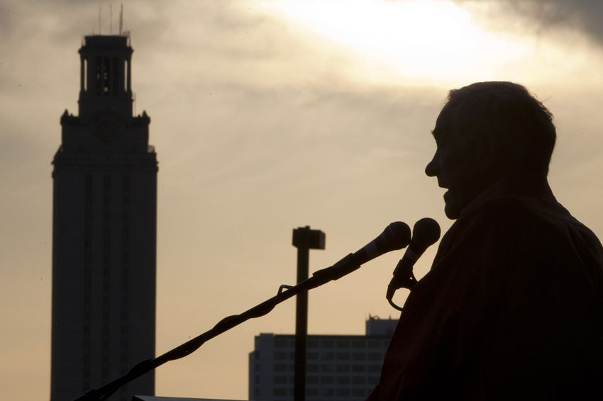 Ron Paul speaking at a rally at the University of Texas at Austin on April 26, 2012.