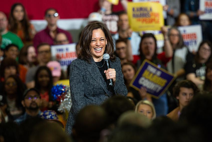 Democratic 2020 presidential candidate and Sen. Kamala Harris speaks during a campaign event at Texas Southern University ...