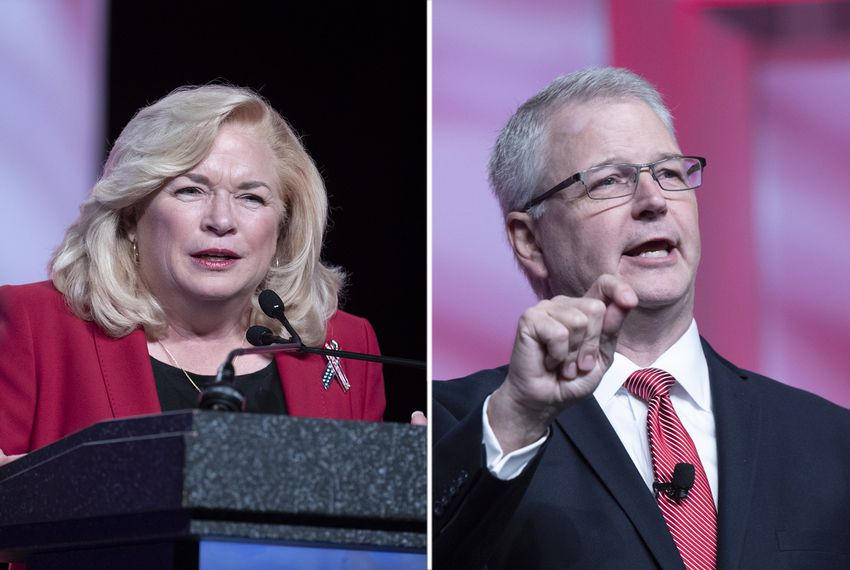 Cindy Asche and Republican Party of Texas Chairman James Dickey speak at the RPT convention on June 14, 2018. Asche is challenging Dickey for leadership of the state party.