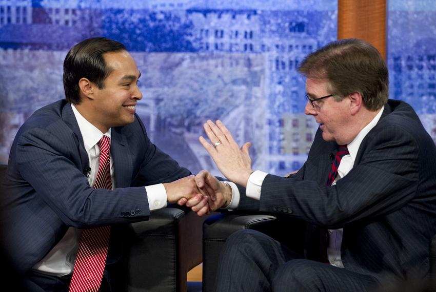 Mayor Julian Castro and Sen. Dan Patrick shake cordially after their San Antonio debate on April 15, 2014.