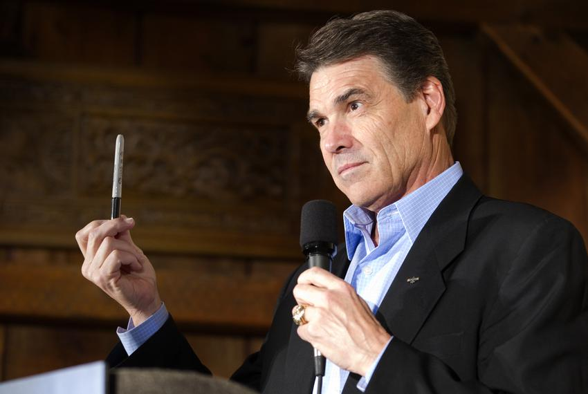 Gov. Rick Perry speaking to a crowd in Orange City, Iowa, on Oct 8, 2011.