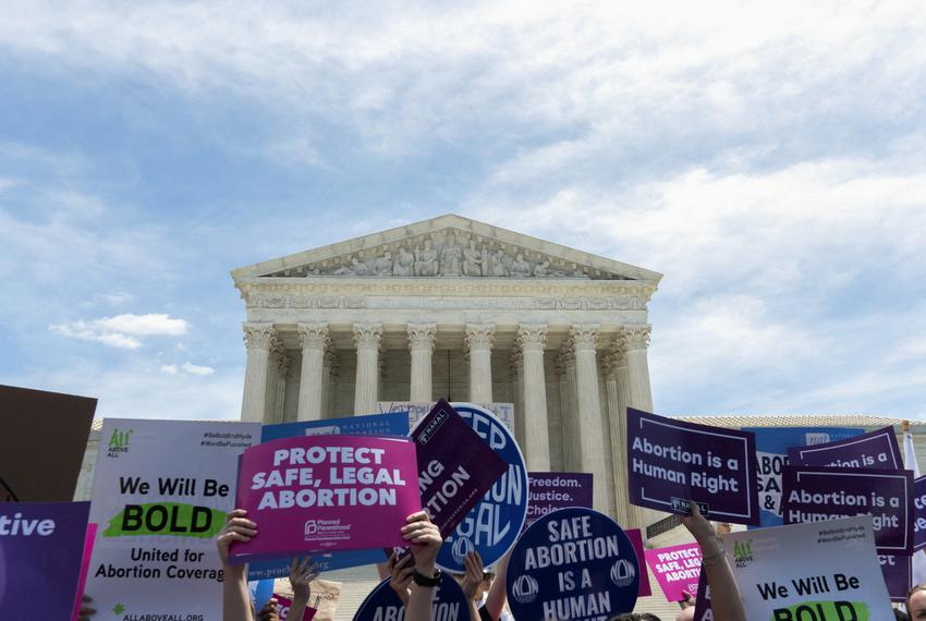 Protestors joined several Democratic lawmakers outside of the Supreme Court in Washington, D.C., on May 21, 2019, to show th…