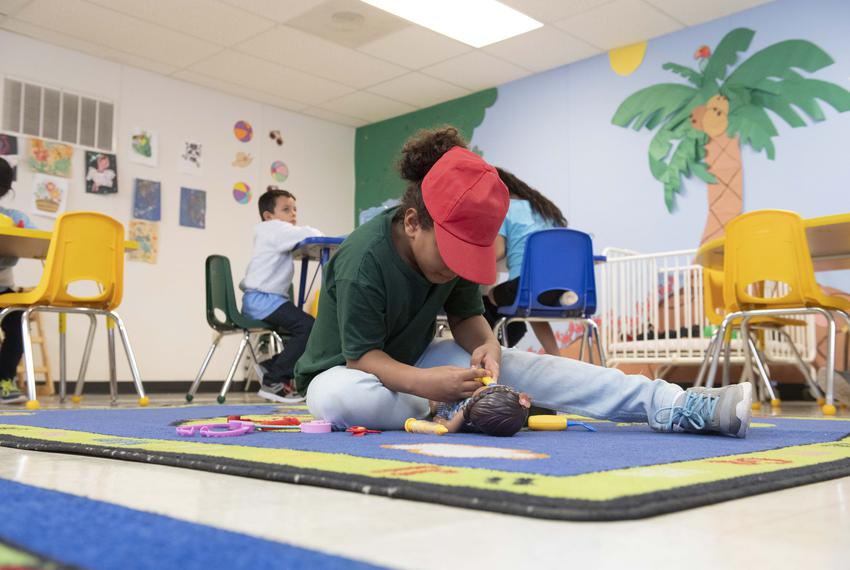 Dilley, TX August 23, 2019: Migrant children from Central American play and attend school classes during the day at the U.S.…