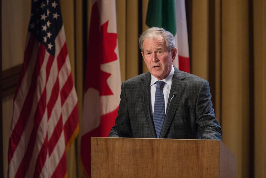 President George W. Bush speaks at the 2016 NASCO Continental Reunion at the George W. Bush Presidential Library in Dallas...