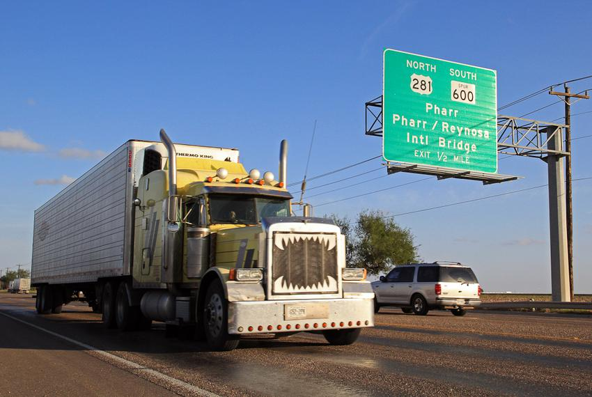 A truck travels on TX-281 Military Highway, which stretches from the U.S.-Mexico border to the U.S.-Canada border, in Pharr,…