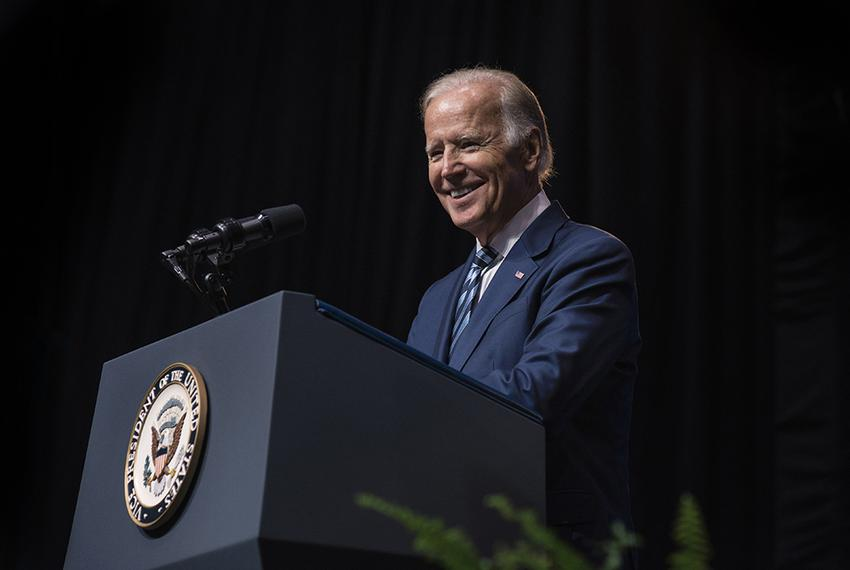 Vice President Joe Biden delivers a speech on Sept. 16, 2016 at Rice University's Tudor Fieldhouse about the White House Can…