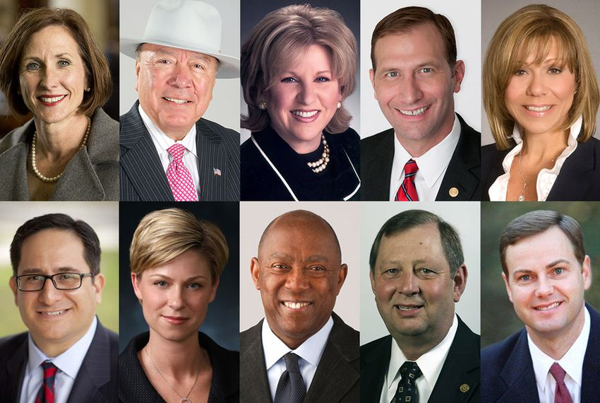 "Sens. Lois Kolkhorst, Juan ""Chuy"" Hinojosa, Jane Nelson, Charles Schwertner, Joan Huffman and Reps. Larry Gonzales, Sarah Davis, Sylvester Turner, John Otto and Trent Ashby make up the 2015 budget conference committee."