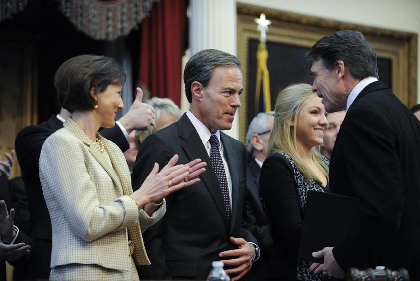 Governor Rick Perry, r, congratulated House Speaker Joe Straus, R-San Antonio, on his reelection at the opening of the 83r...