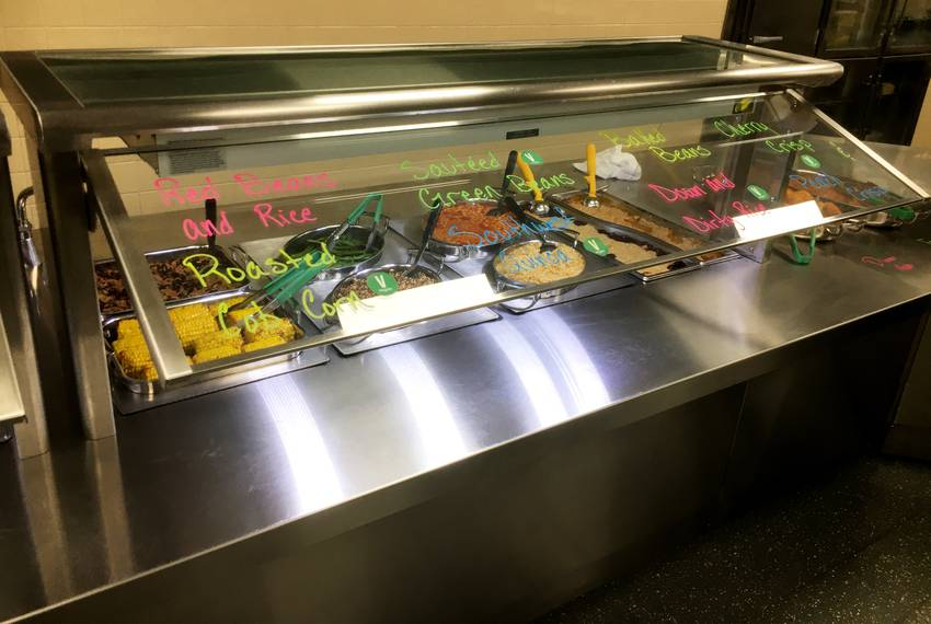 Some of the day's cafeteria offerings, under glass.
