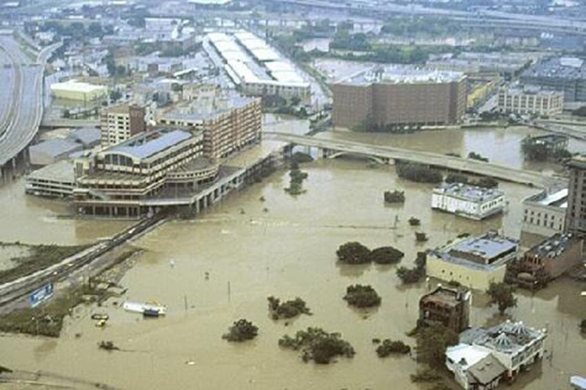 Aerial view of flooding from Tropical Storm Allison in Houston on June 9, 2001.