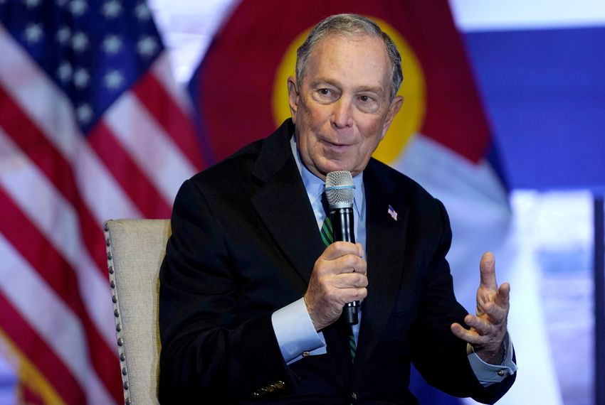 Democratic presidential candidate Michael Bloomberg speaks about his gun policy agenda in Aurora, Colorado on Dec. 5, 2019.