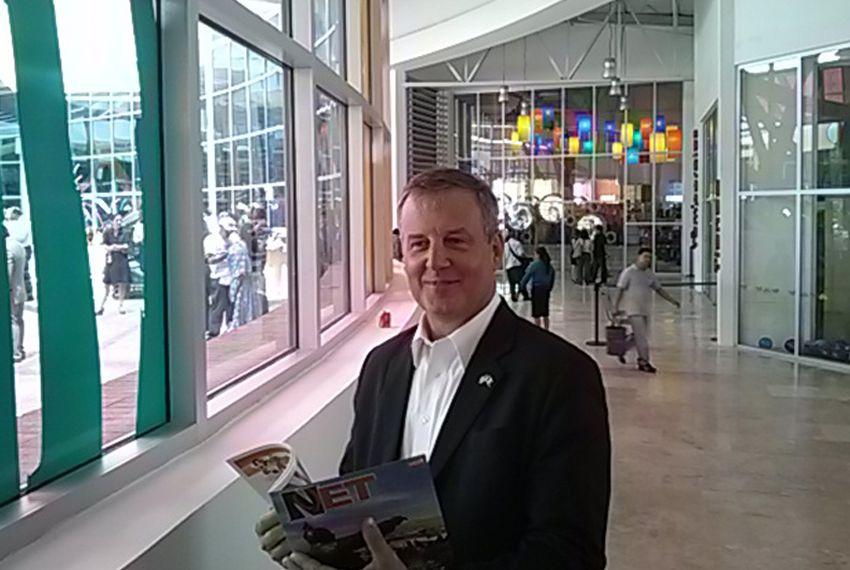 U.S. Consul General in Ciudad Juárez, Ian Brownlee, at the ribbon-cutting ceremony for La Rodadora: Espacio Interactivo museum.