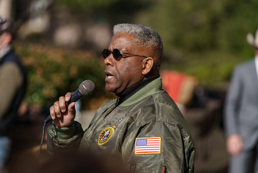 State GOP Chairman Allen West speaks at a  Texas Republican Party rally on the east side of the Capitol Grounds on January 9…
