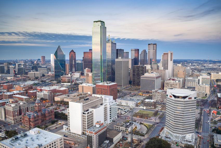 Aerial View of Downtown Dallas.