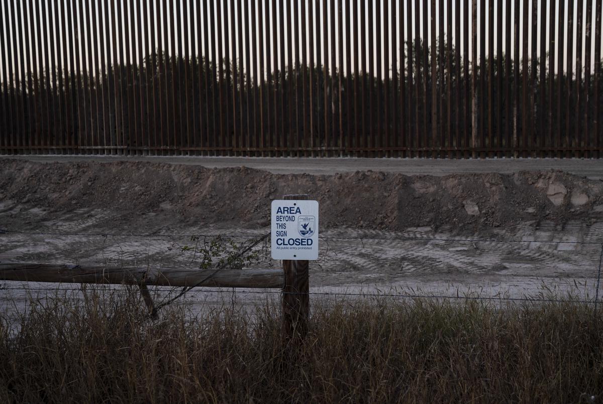 Construction of the border wall close to Mendoza's ranch near La Grulla on Dec. 17, 2020.