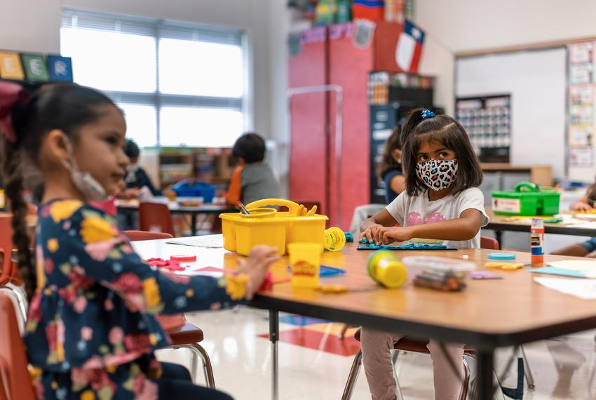 Kindergarten students work at their desks at Blanco Vista Elementary School in San Marcos on Aug. 23, 2021.