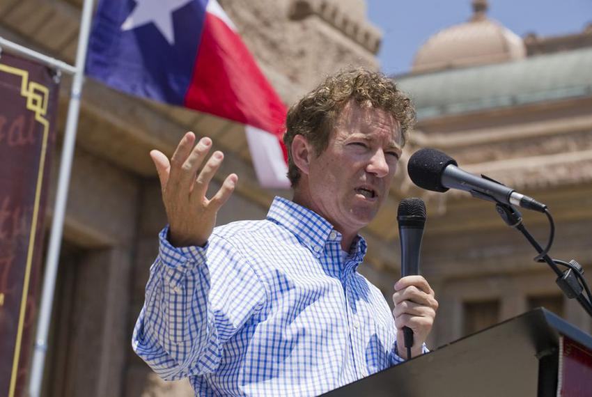 U.S. Sen. Rand Paul of Kentucky, son of Republican candidate Ron Paul, speaks to a Tea Party crowd Sunday May 6, 2012 at the…