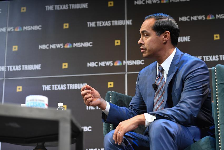 Katy Tur interviews presidential candidate Julián Castro at The Texas Tribune Festival on Saturday, Sept. 28, 2019.