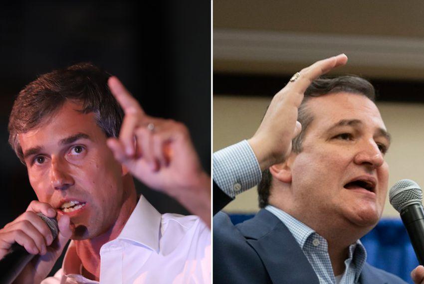 U.S. Rep. Beto O'Rourke, D-El Paso (left), and U.S. Sen. Ted Cruz, both campaigning on Saturday, Nov. 3, 2018, O'Rourke in Dallas, Cruz in Victoria.