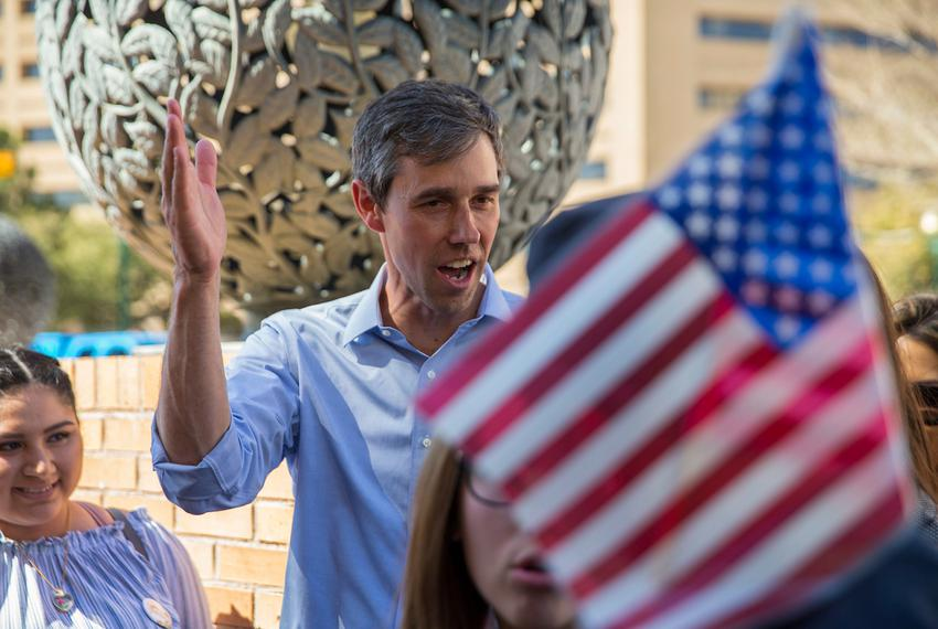 Beto O'Rourke's early voting rally in San Jacinto Plaza and walking through downtown to vote at the county courthouse in E...