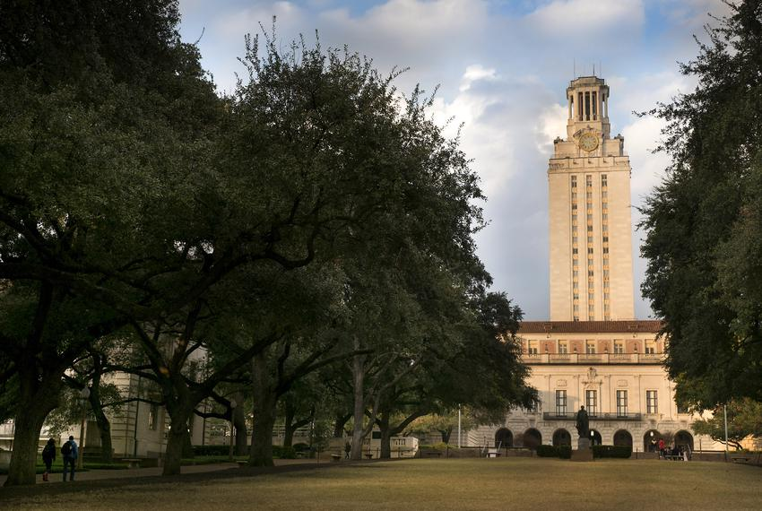 The UT tower and main building on The University of Texas campus on December 19, 2018.