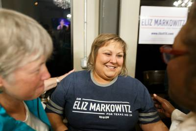 Democratic Texas House District 28 candidate Eliz Markowitz greets supporters at election night watch party in Katy on Tuesday,