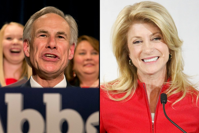 Gubernatorial candidates Greg Abbott and Wendy Davis are shown on primary night on March 4, 2014.