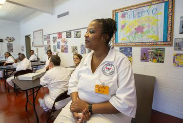 Sylvia Rice was initially anxious about her upcoming release date because she's been in the prison system for decades. But she said the reentry program is teaching her skills needed to secure a job.