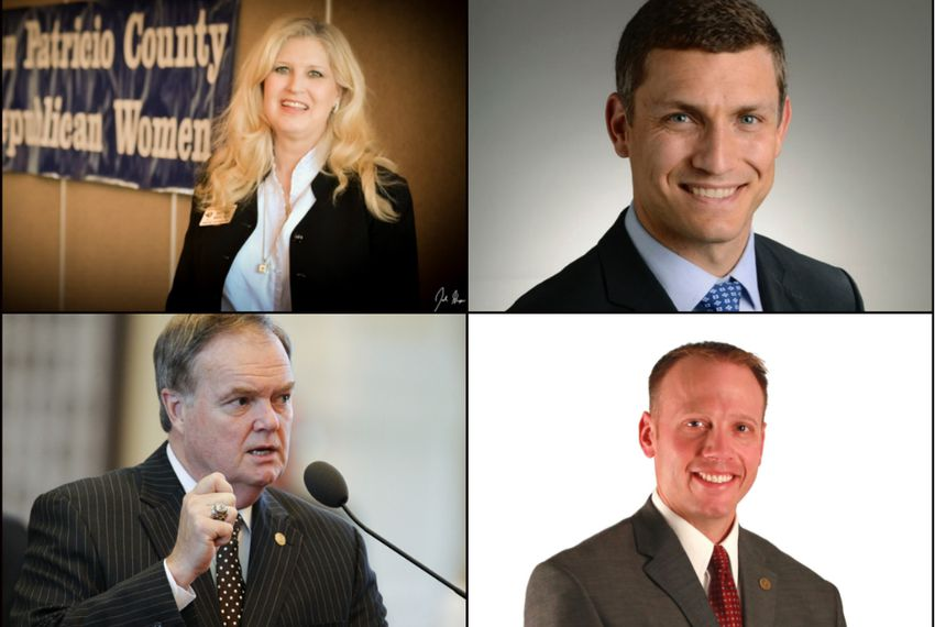 GOP Candidates for the Railroad Commission of Texas. Clockwise, from top left: Becky Berger, Malachi Boyuls, Ryan Sitton and former state Rep. Wayne Christian.