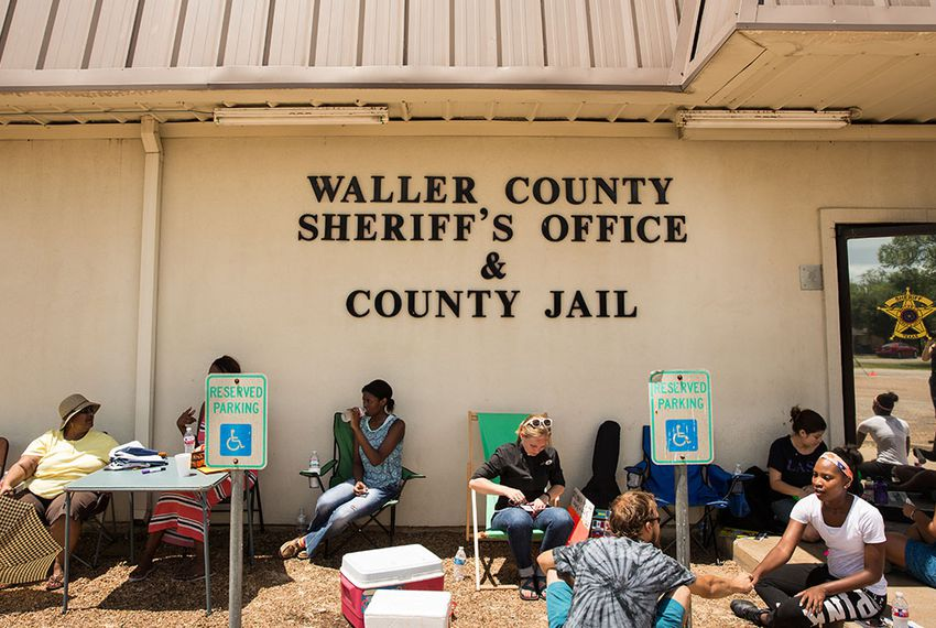 Vigil at the Waller Co. sheriff's office in Hempstead, Texas for Sandra Bland, the 28-year-old woman who died in the jail days after arriving in the area to start a new job, on July 17, 2015.