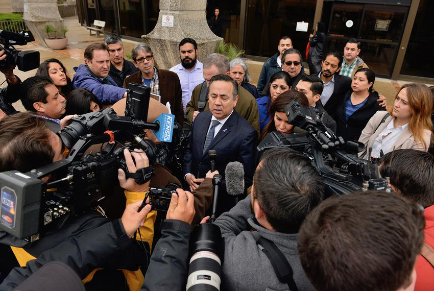 State Sen. Carlos Uresti, D-San Antonio, speaks at a press conference outside the federal courthouse in San Antonio after be…