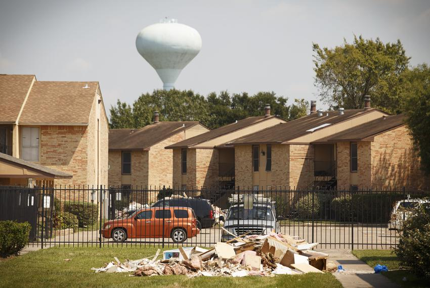 Debris from Hurricane Harvey outside an apartment complex in Houston on Sept. 14, 2017.