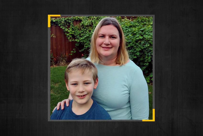 Carmen and Bobby Campbell. Bobby, 8, would be in third grade in Plano ISD, but Carmen is not sending him because of lax mask…