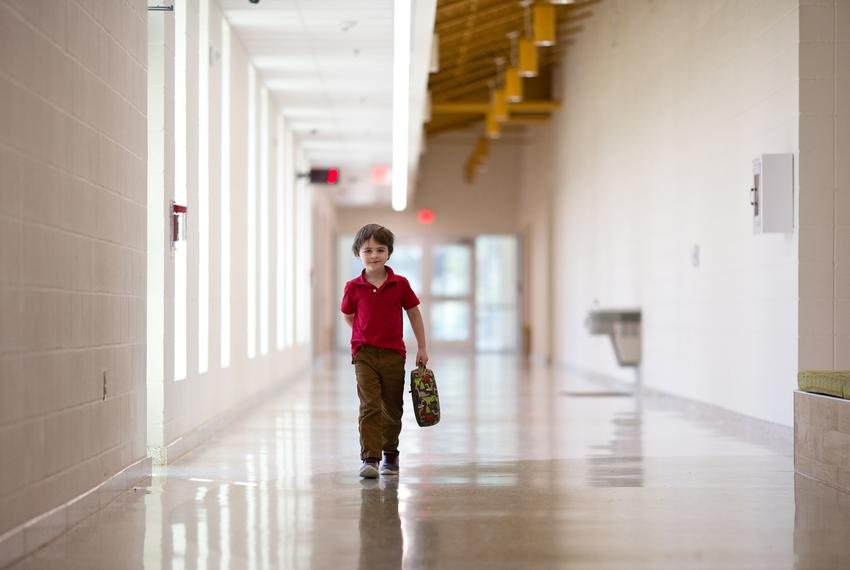 Corbyn Sims walks unsupervised at East Texas Montessori Prep Academy.