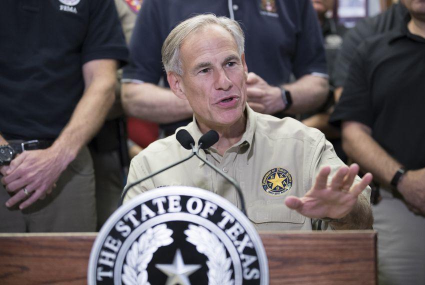 Gov. Greg Abbott briefs the media about Hurricane Harvey damage to the Coastal Bend prior to touring the area by motorcade on Aug. 28, 2017.
