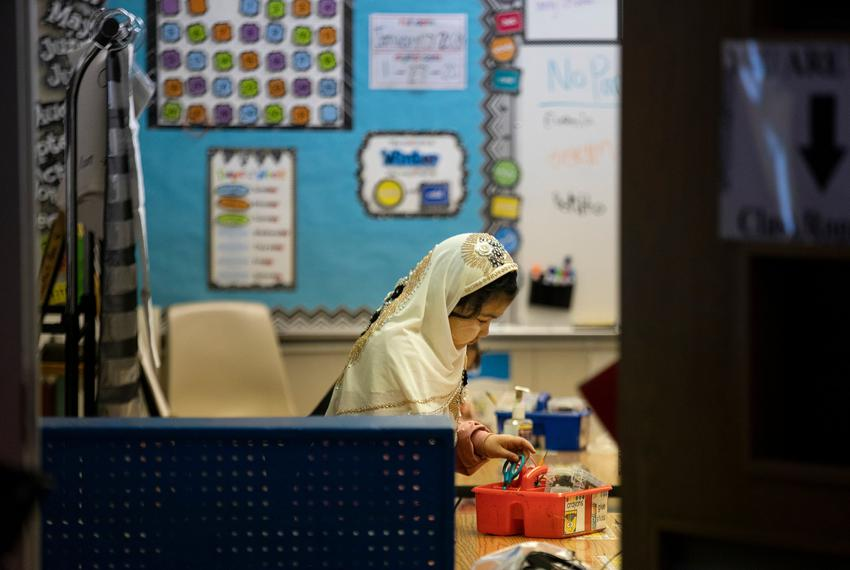 A student in a classroom at Cactus Elementary School in Cactus on Jan. 28, 2020.