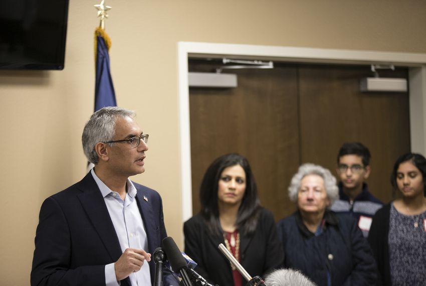 Dr. Shahid Shafi enters a Tarrant County Republican Party executive committee meeting at Faith Creek Church in Richland Hills on Thursday before a failed attempt to oust him from his vice-chairmanship because he's Muslim.