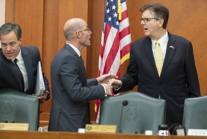 Dennis Bonnen (center), then the presumptive House speaker, meets with Lt. Gov. Dan Patrick (right) and outgoing House Speaker Joe Straus at a Legislative Budget Board meeting in Austin on Nov. 16, 2018.